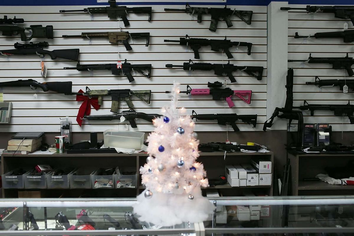 A Christmas tree is seen at the National Armory gun store in Pompano Beach, Florida.