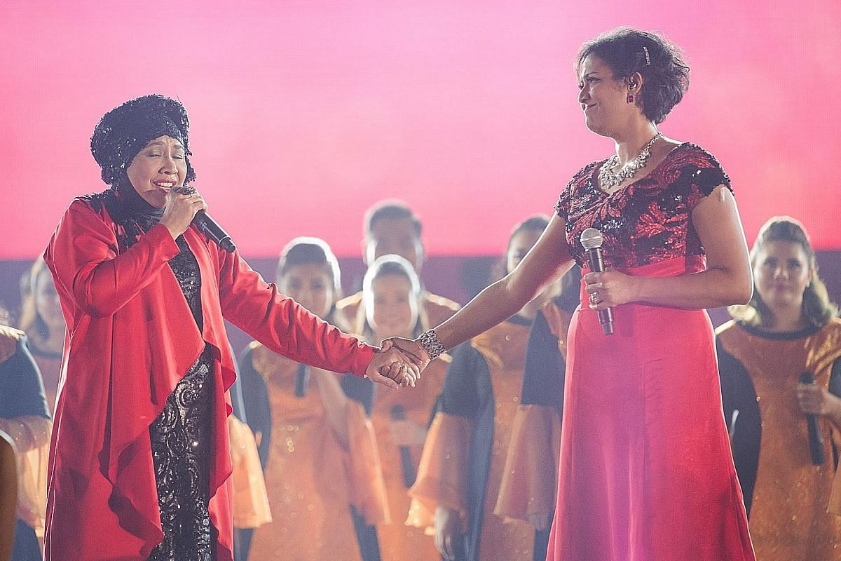 Veteran singer Rahimah Rahim (left) and Rani Singam at the Sing50 concert. British artist FKA twigs (above) at this year's St. Jerome's Laneway Festival Singapore.