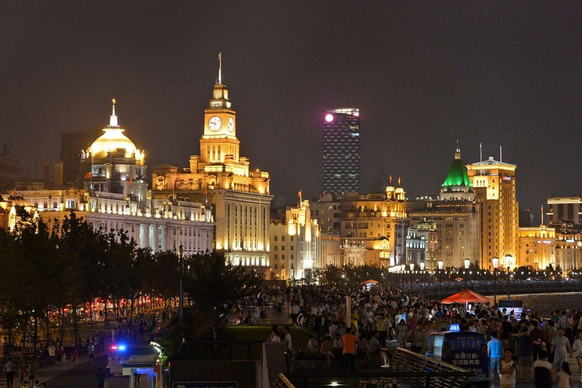 The Bund, or waterfront, in Shanghai is home to a large number of Art Deco buildings.