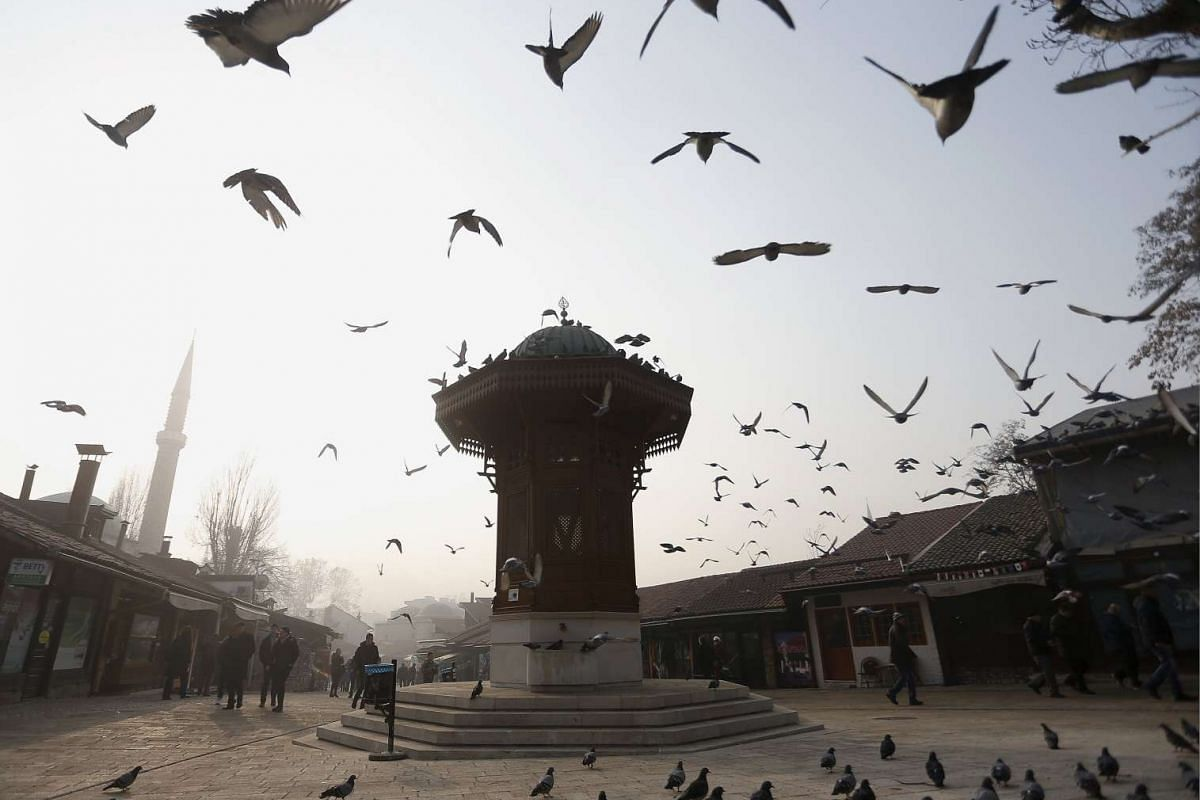 A flock of pigeons fly over a smoggy Bascarsija square in Sarajevo, Bosnia on Dec 28, 2015.