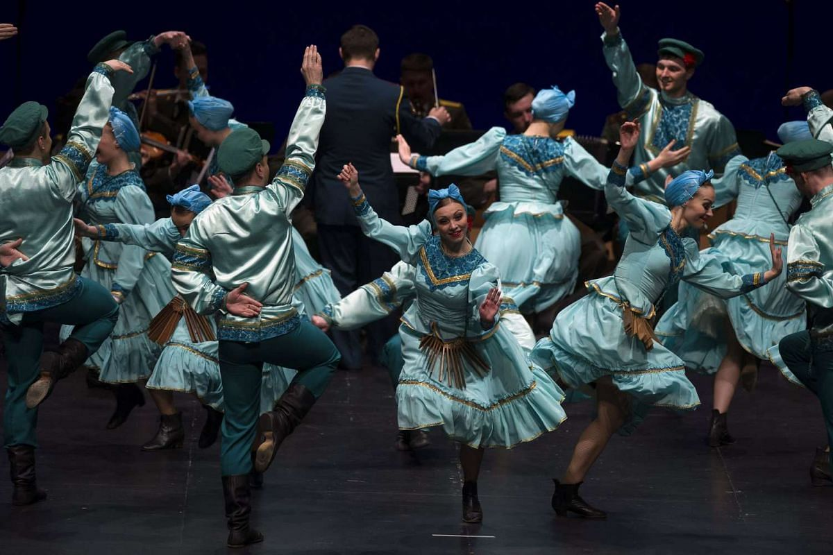 Saint Petersburg Russian Army Orchestra, Ballet and Chorus members performing in Pamplona, Spain on Dec 28, 2015.