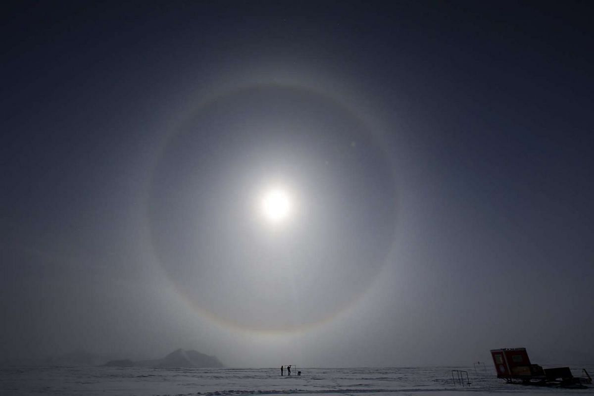 Scientists measuring the solar radiation, in light of the ozone hole reaching a record 10 sq km, at the Glaciar Union camp in the Antarctica on Nov 18, 2015.