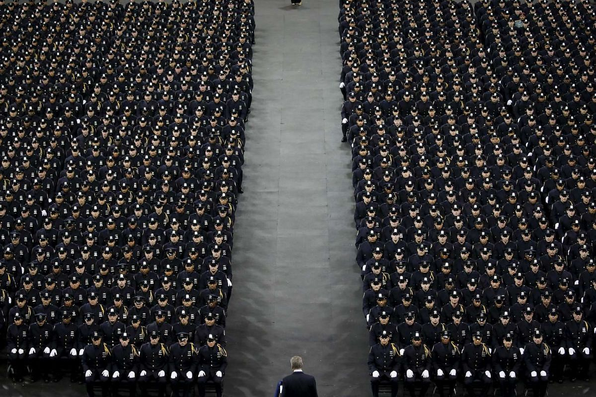New York Mayor Bill de Blasio addressing police officers at a graduation ceremony at Madison Square Garden in New York on Dec 29, 2015.