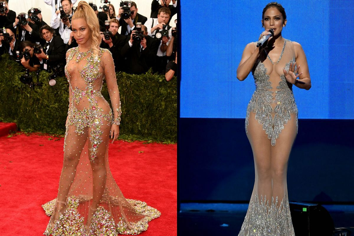 Beyonce (left) and Jennifer Lopez (right) left little to the imagination.