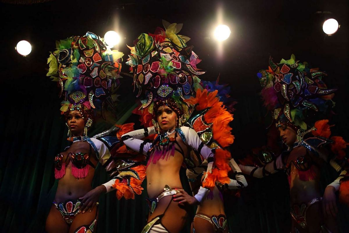 El Tropicana de Cuba dancers rehearsing for their three-day debut at the El Tucan modern-day cabaret on Dec 30 in Miami, Florida.