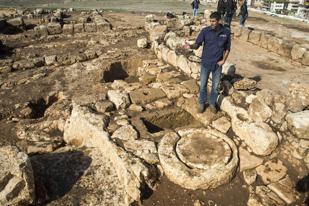 A picture taken on Dec 30 shows a Byzantine period farmstead discovered during an archaeological excavation at the construction site of a new neighbourhood in Rosh Haayin, Israel.