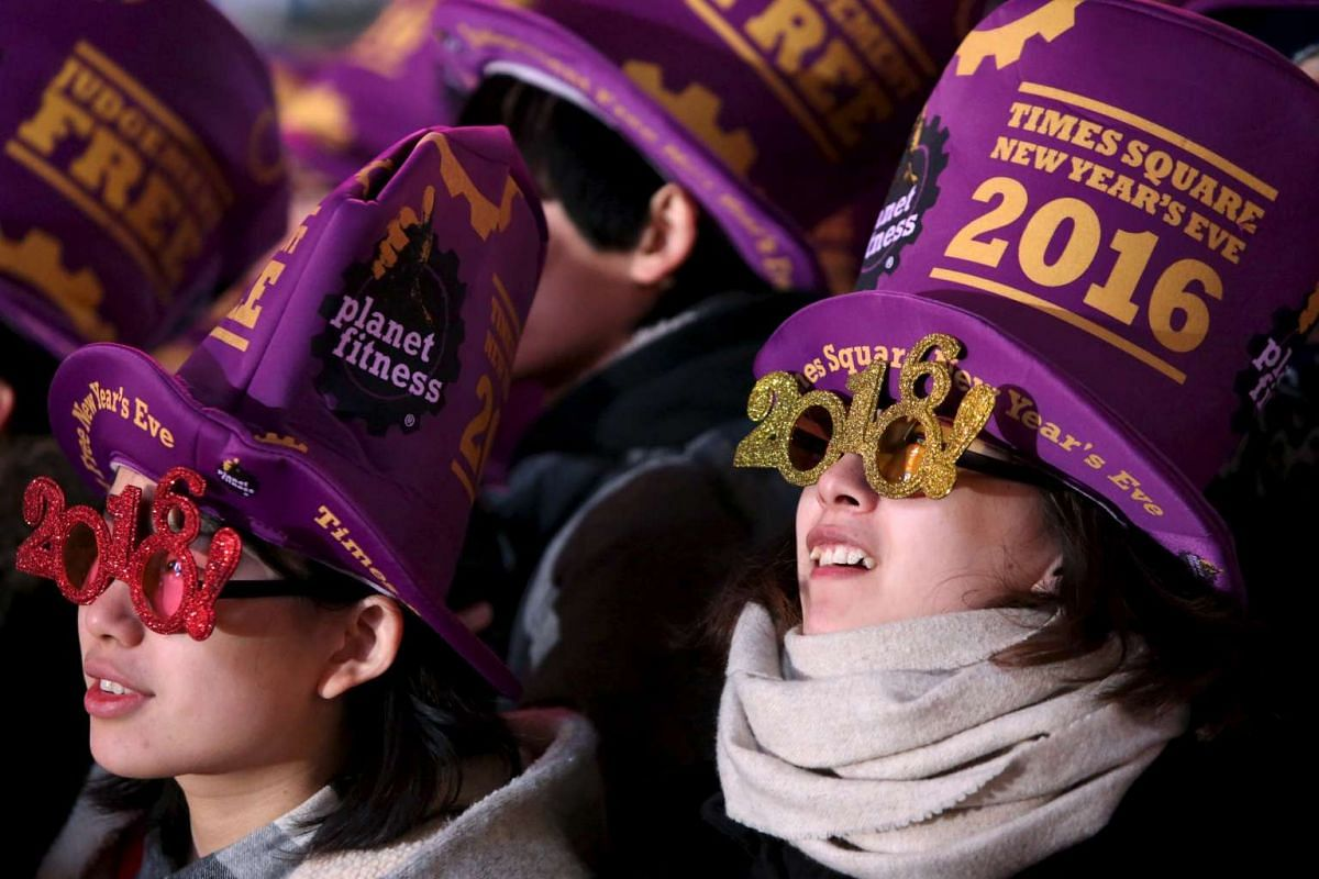 Revelers gather during New Year celebrations in Times Square in the Manhattan borough of New York on Dec 31, 2015.
