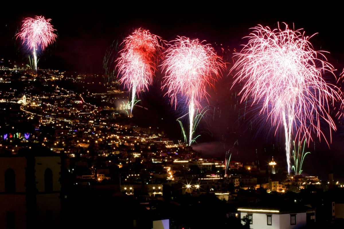 Fireworks explode over the city of Funchal, marking the coming of the New Year on Madeira island, Portugal on Jan 1, 2016.