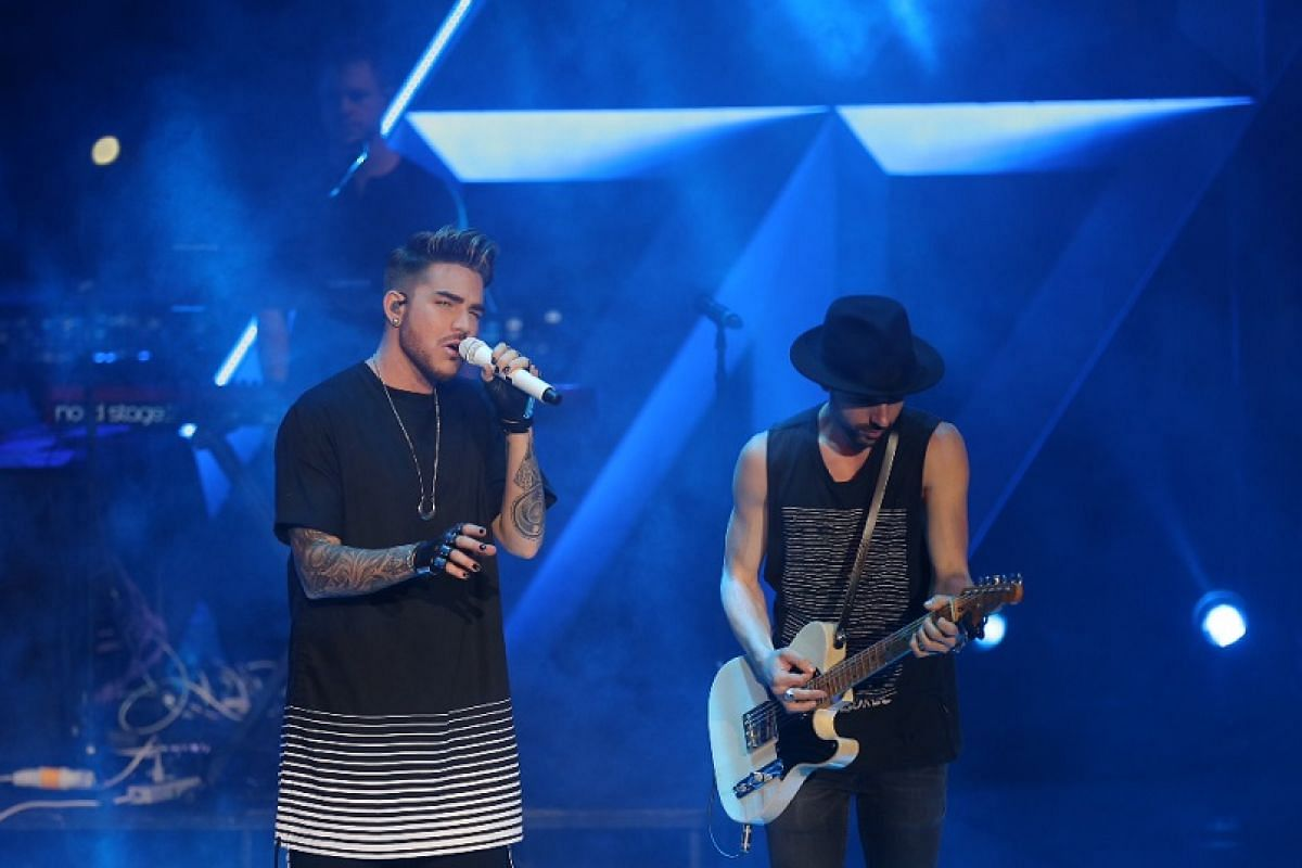 Adam Lambert performs at Celebrate 2016 - The New Year's Eve countdown show at Marina Bay Floating Platform on Dec 31, 2015.