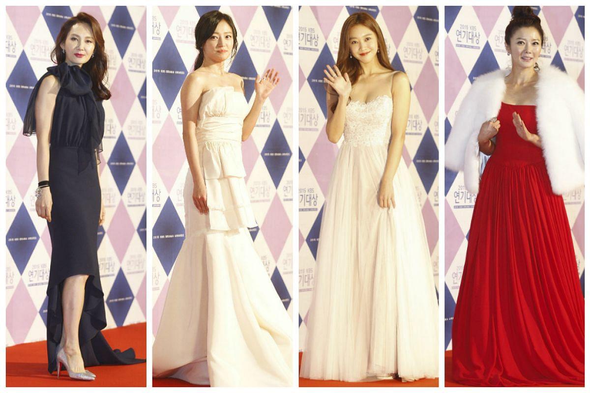 South Korean actresses from left to right: Chae Si-Ra, Song Ha-Yoon, Cho Bo-Ah, and Cho Eun-Sook.