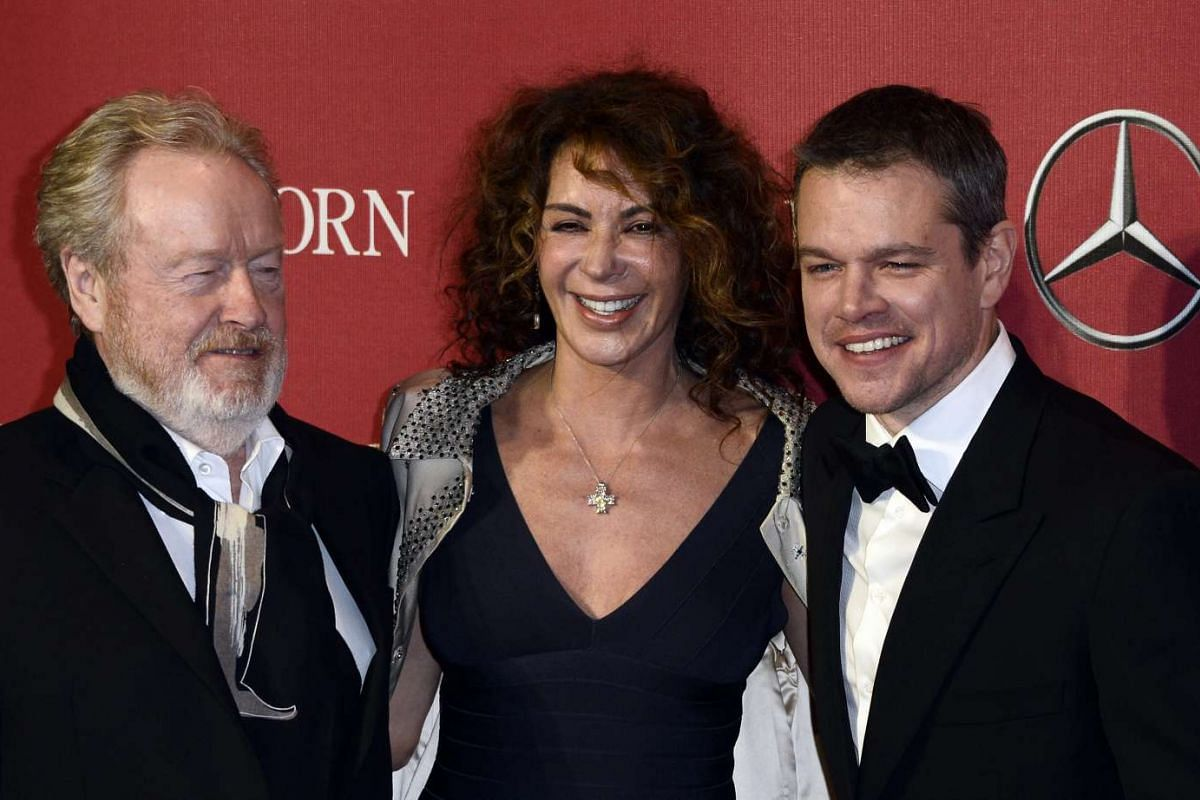 (From left) Director Ridley Scott, his wife Giannina Facio-Scott and actor Matt Damon at the 27th Palm Springs International Film Festival in Palm Springs, California, on Jan 2, 2016.
