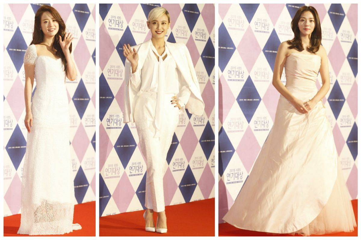 South Korean actresses from left to right: Son Yeo-Eun, Kang Byul, and Chae Soo-Bin.