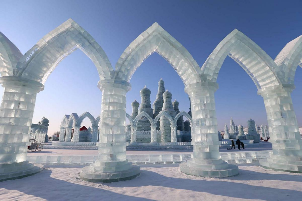 Ice sculptures at Harbin Ice and Snow World one day before the 32nd Harbin International Ice and Snow Festival on Jan 4, 2016.