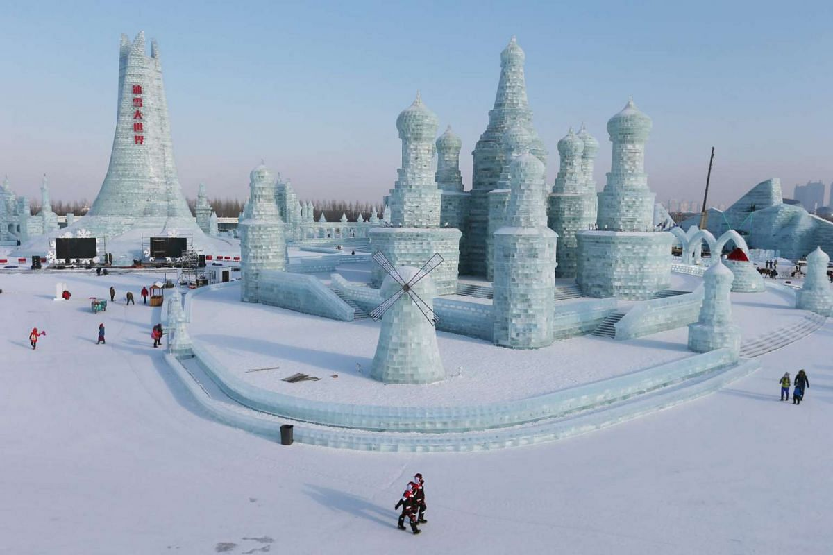 General view of ice sculpture works at Harbin Ice and Snow World one day before the 32nd Harbin International Ice and Snow Festival on Jan 4, 2016.