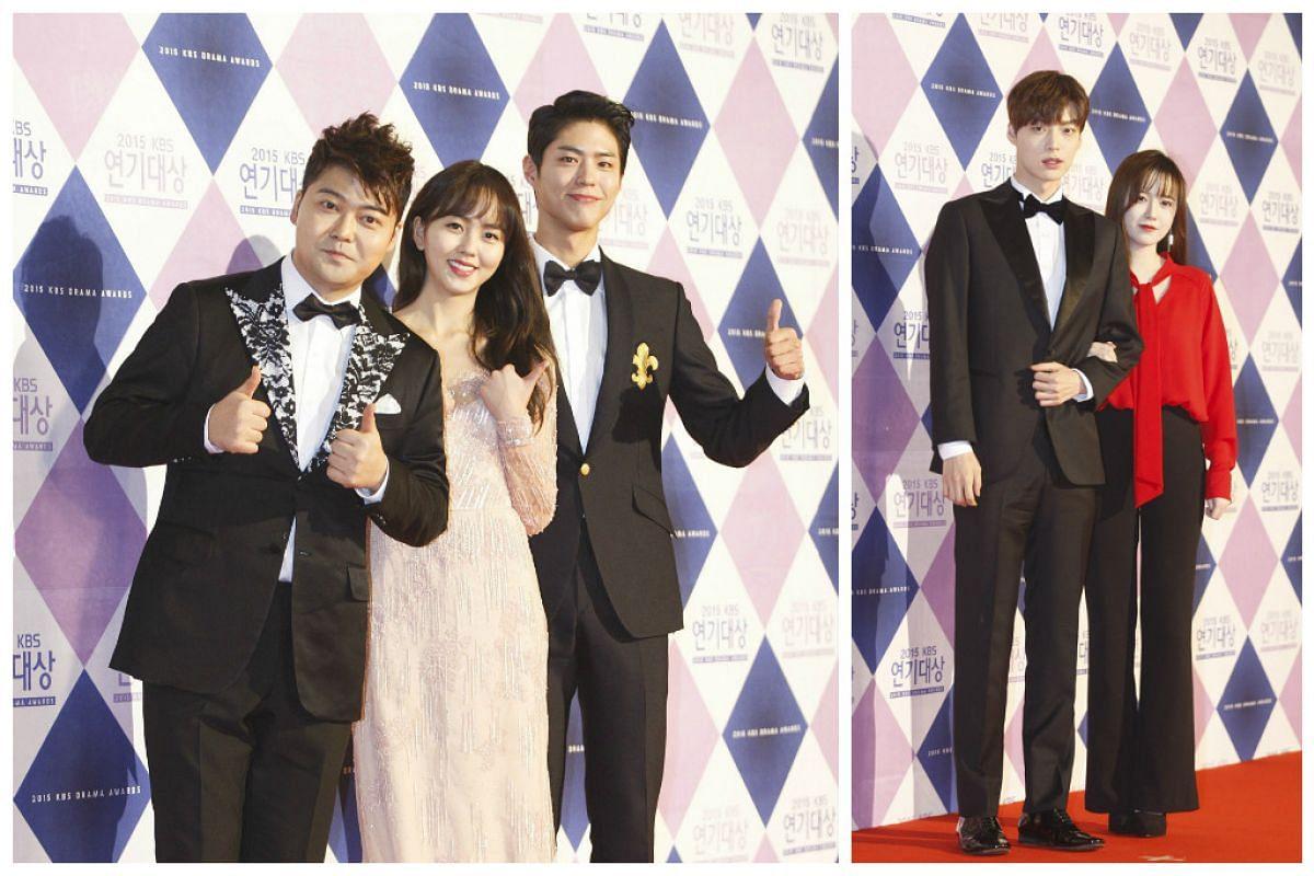 On left, South Korean MC Jeon Hyun-Moo (left) with South Korean actors Kim So-Hyun and Park Bo-Gum Koo. On right, South Korean actors Ahn Jae-Hyun (left) and Koo Hea-Sun.