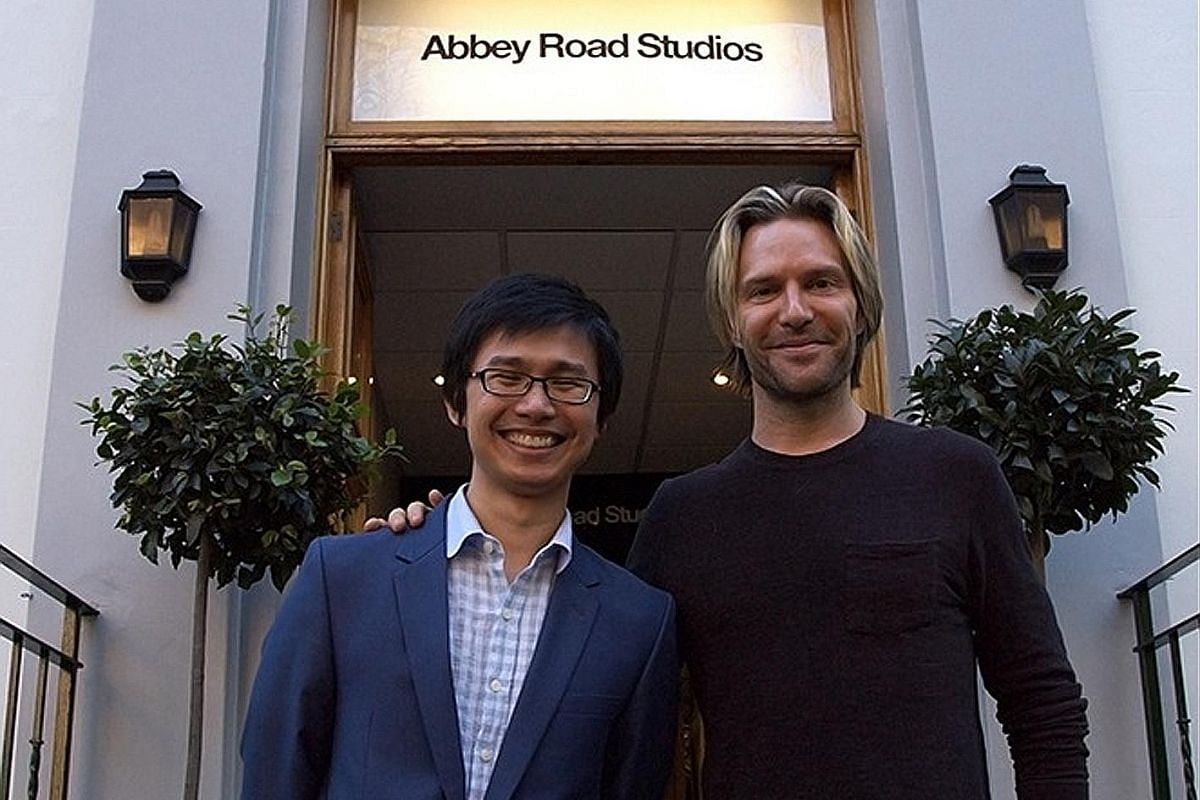 My life so far: Chen conducting Rain Tree with the Tokyo Philharmonic Orchestra in 2011 and with composer-conductor Eric Whitacre (above) at Abbey Road Studios in London, where his work for orchestra and chorus, Ariadne's Love, was recorded by the London