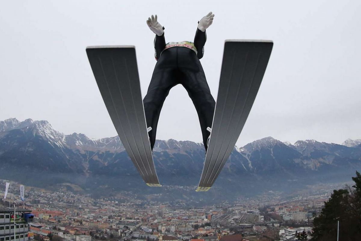 Severin Freund of Germany making a test jump at the Four Hills ski jumping tournament in Innsbruck, Austria, on Jan 2, 2016.