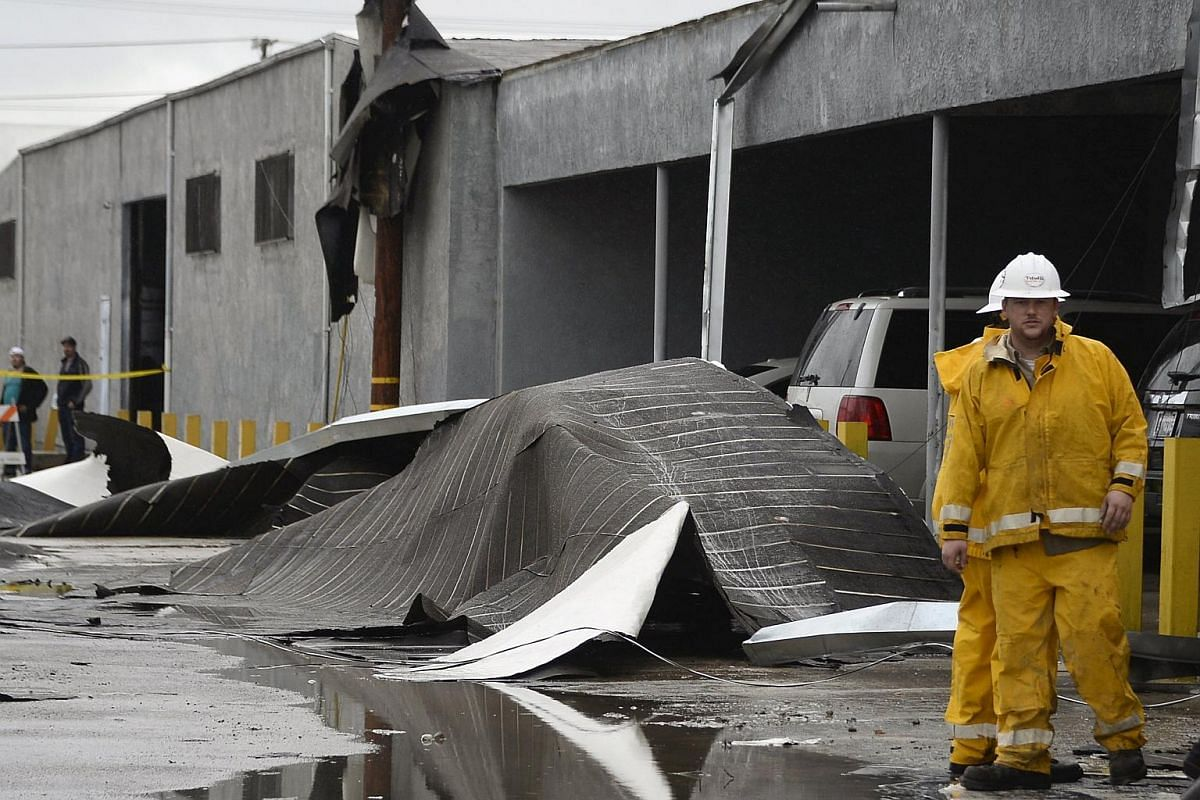 Wind damage by a possible tornado is seen at a commercial building in Vernon, California, on Jan 5.