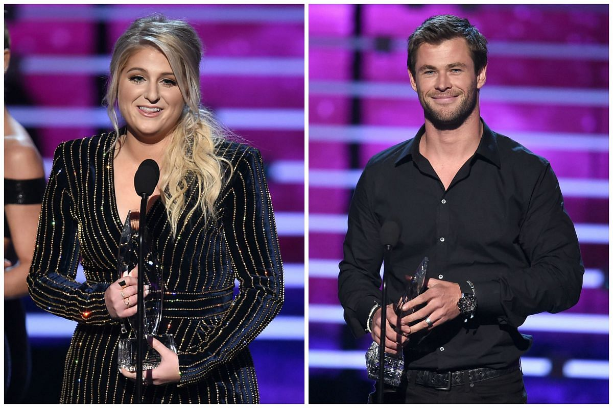 Singer Meghan Trainor (left) and actor Chris Hemsworth at the People's Choice Awards on Jan 6.