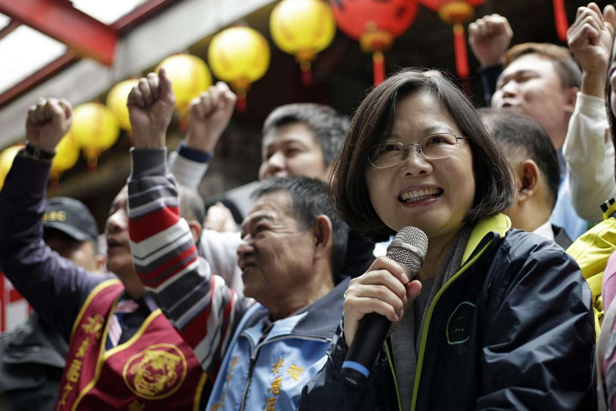 Ms Tsai Ing-wen, Taiwan's Democratic Progressive Party (DPP) presidential candidate, speaking to supporters during a campaign rally on Jan 6, 2016.