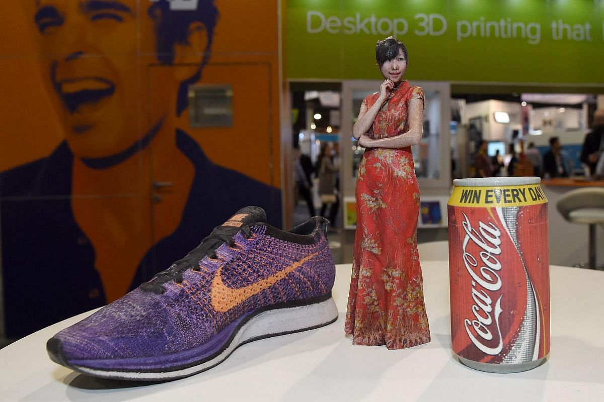 Items printed by the Mcor Arke, the first full-color desktop 3D printer, are displayed at CES 2016.