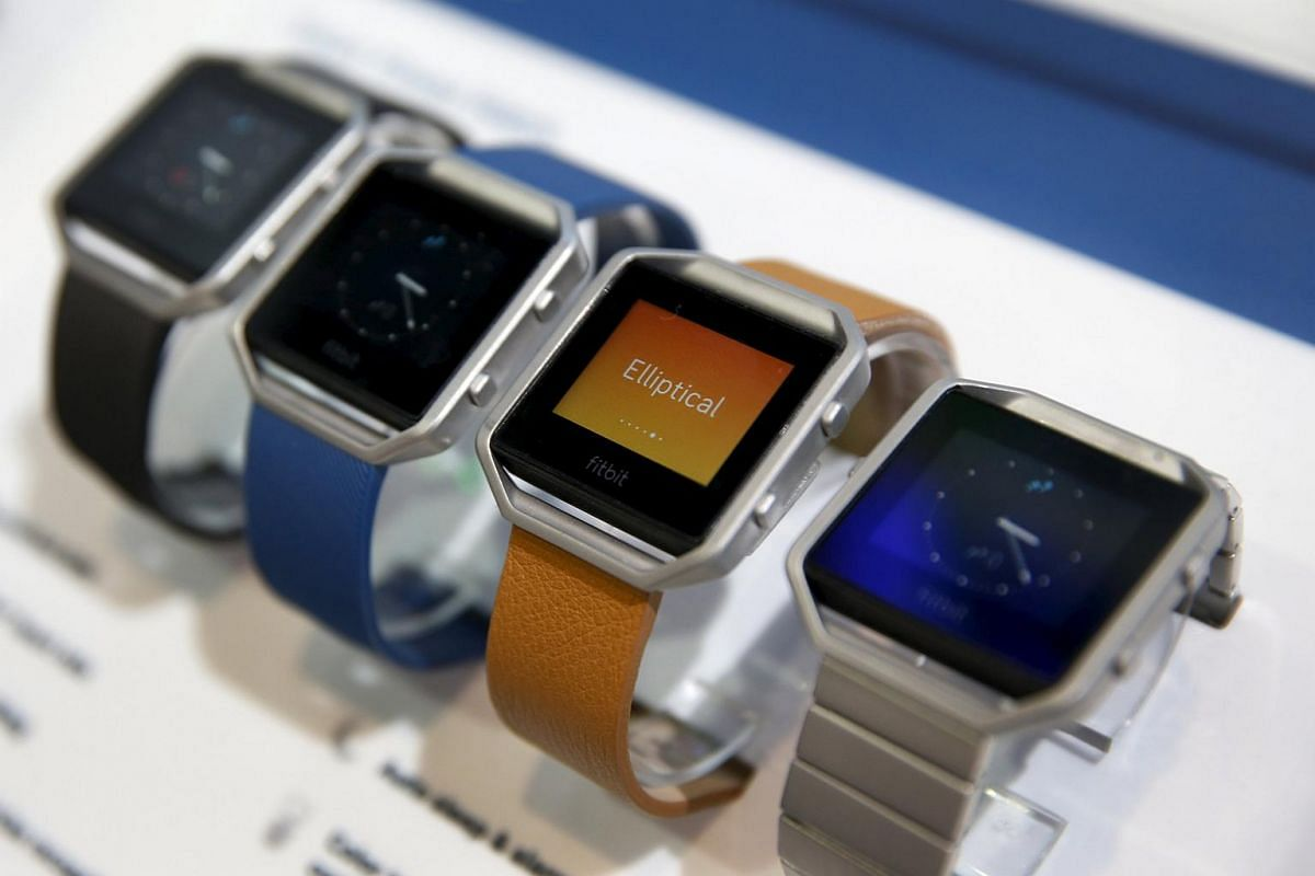 Fitbit Blaze watches on display at the CES 2016.