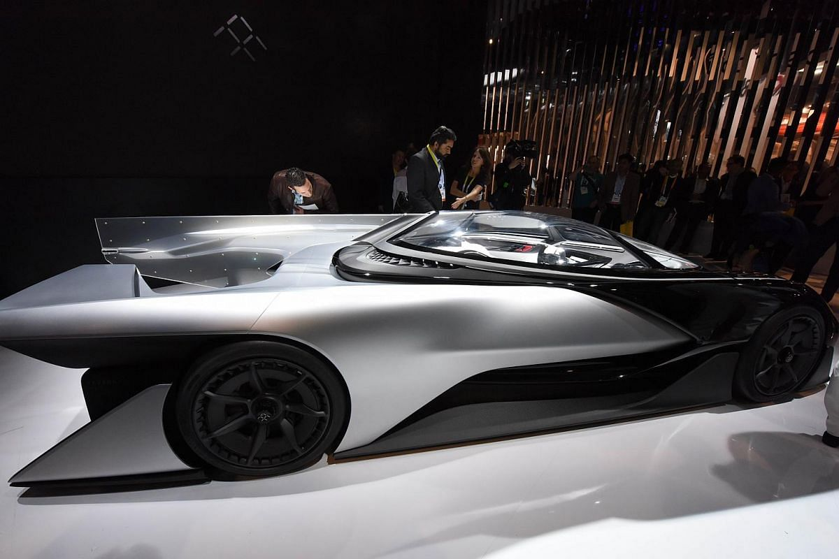 The Faraday Future FFZero1 Concept car is displayed on the first day of CES 2016.