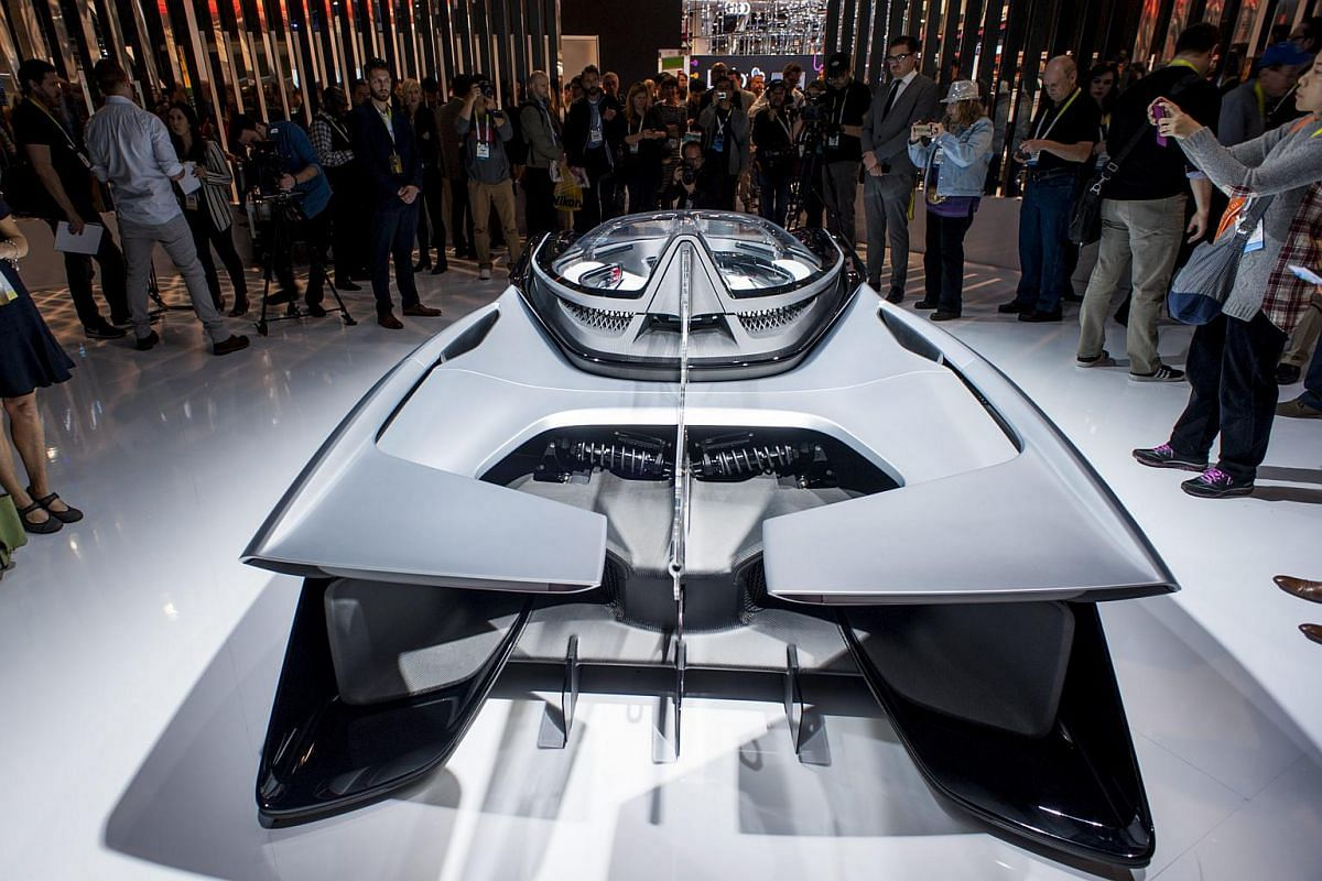 A handout photo provided by the Las Vegas News Bureau showing The Faraday Future FFZero1 all-electric concept car on display at CES 2016.