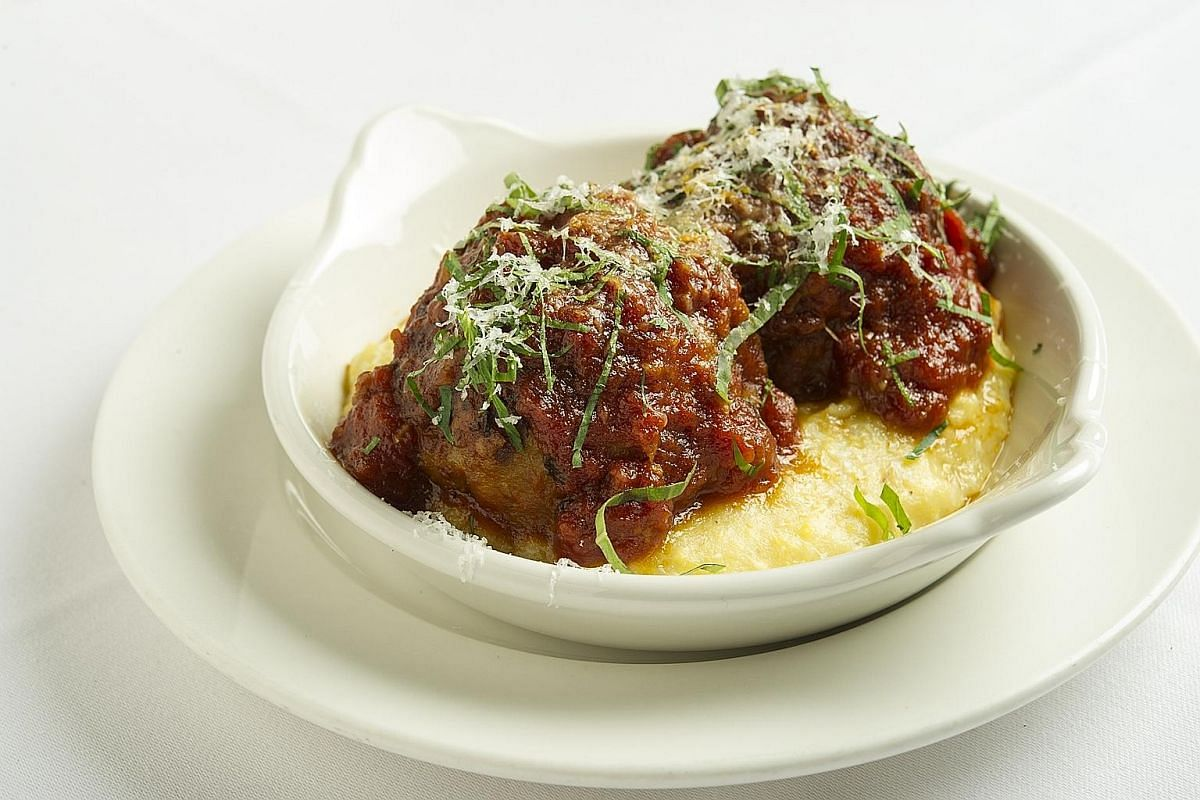 The Signature Veal Chop Parmigiana (top) and Angeleno's Meatballs (above).