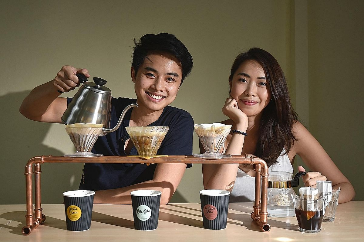Mr Ernest Ting and his girlfriend, Ms Faye Sit (both left), launched Hook Coffee last week.