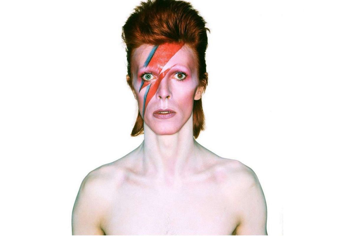 A photo from the album cover shoot for 1973's Aladdin Sane.