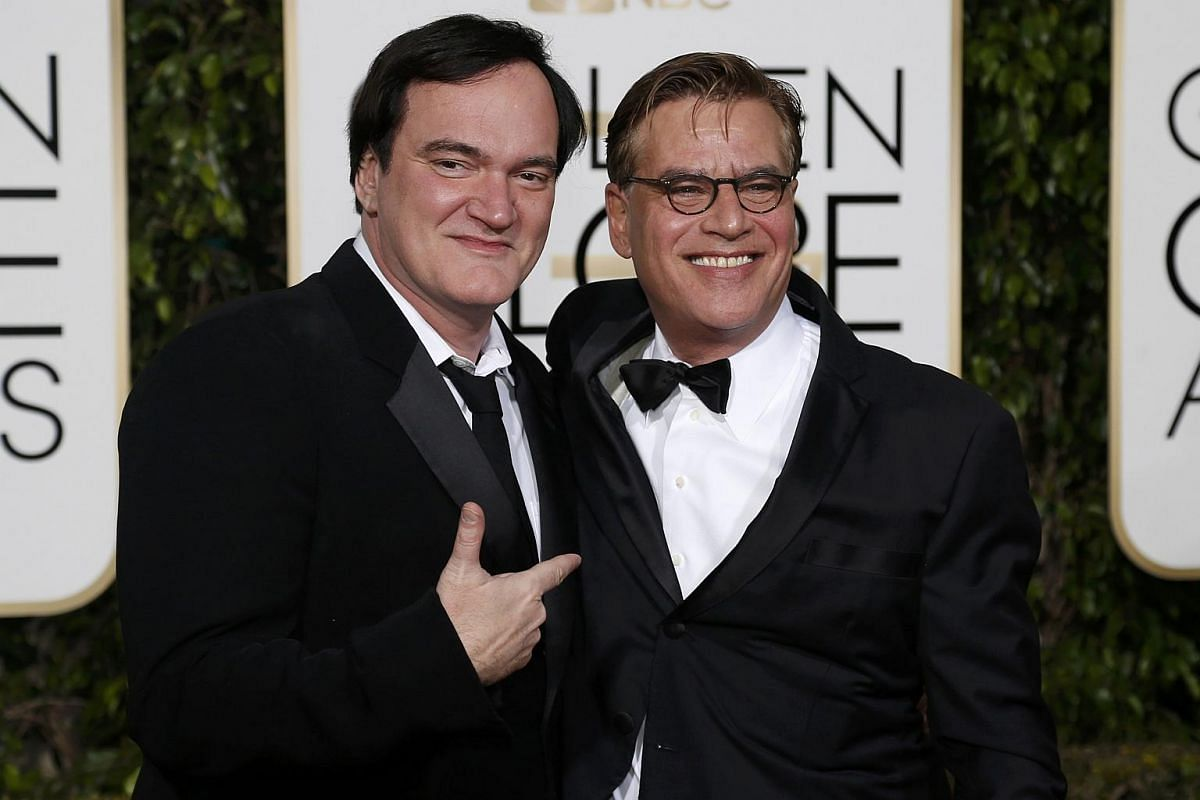 Director Quentin Tarantino (left) and screenwriter Aaron Sorkin arriving at the 73rd Golden Globe Awards.
