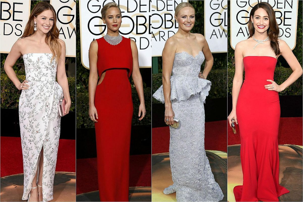 (From left) Actresses Melissa Benoist, Jennifer Lawrence, Malin Akerman and Emmy Rossum arriving at the 73rd Golden Globe Awards.