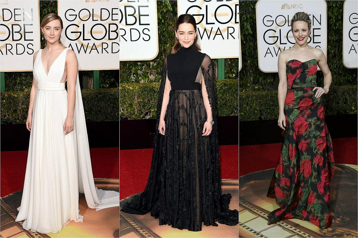 (From left) Actresses Saoirse Ronan, Emilia Clarke and Rachel McAdams arriving at the 73rd Golden Globe Awards.