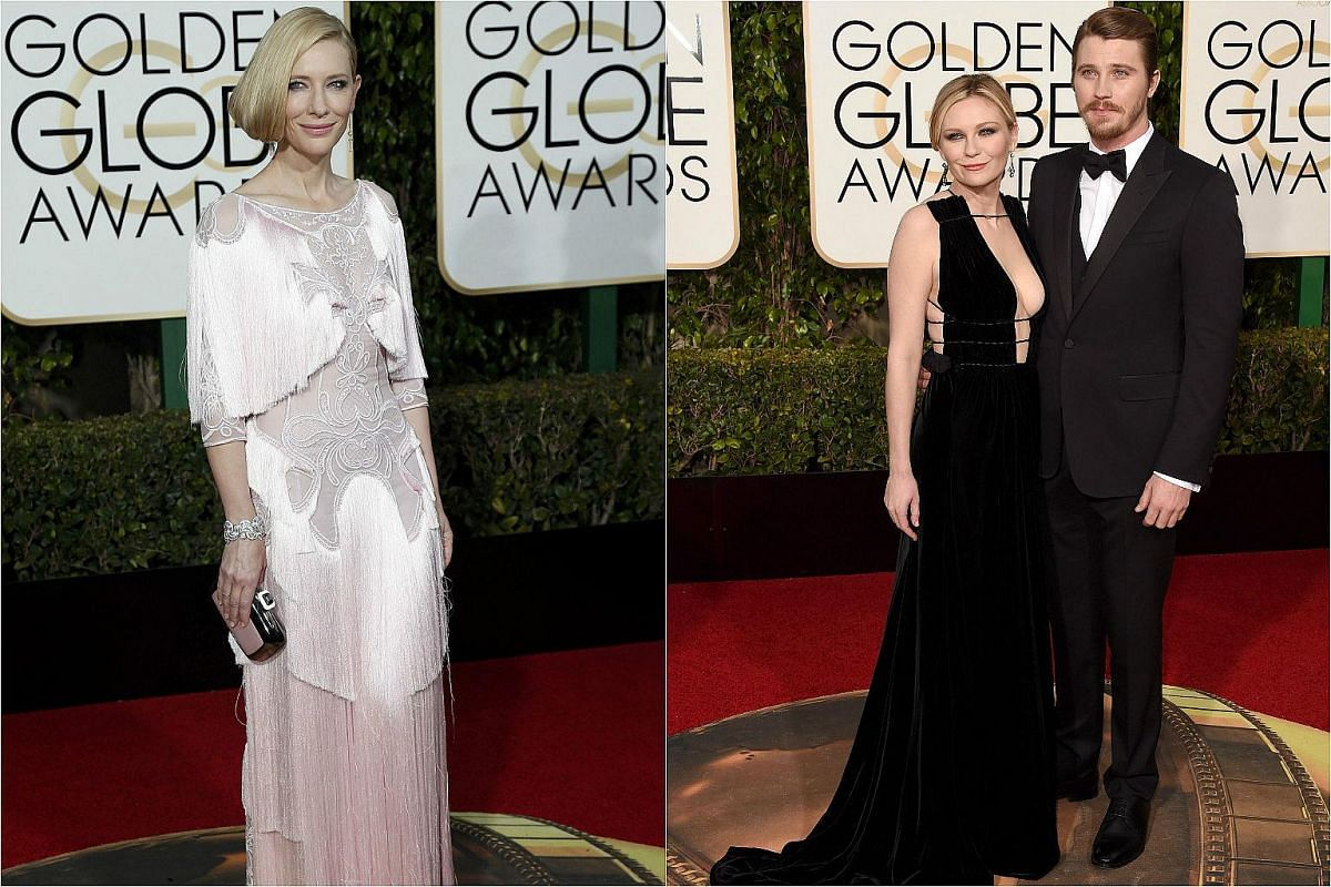 (From left) Actress Cate Blanchett, and actors Kirsten Dunst and Garrett Hedlund arriving at the 73rd Golden Globe Awards.