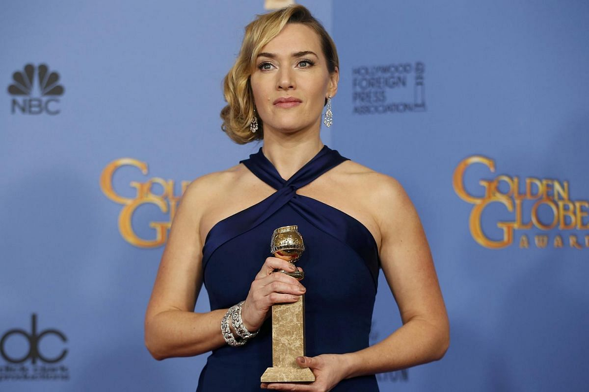 Actress Kate Winslet poses with her award for Best Performance by an Actress in a Supporting Role in any Motion Picture for her role in Steve Jobs backstage at the 73rd Golden Globe Awards in Beverly Hills, California, on Jan 10, 2016.