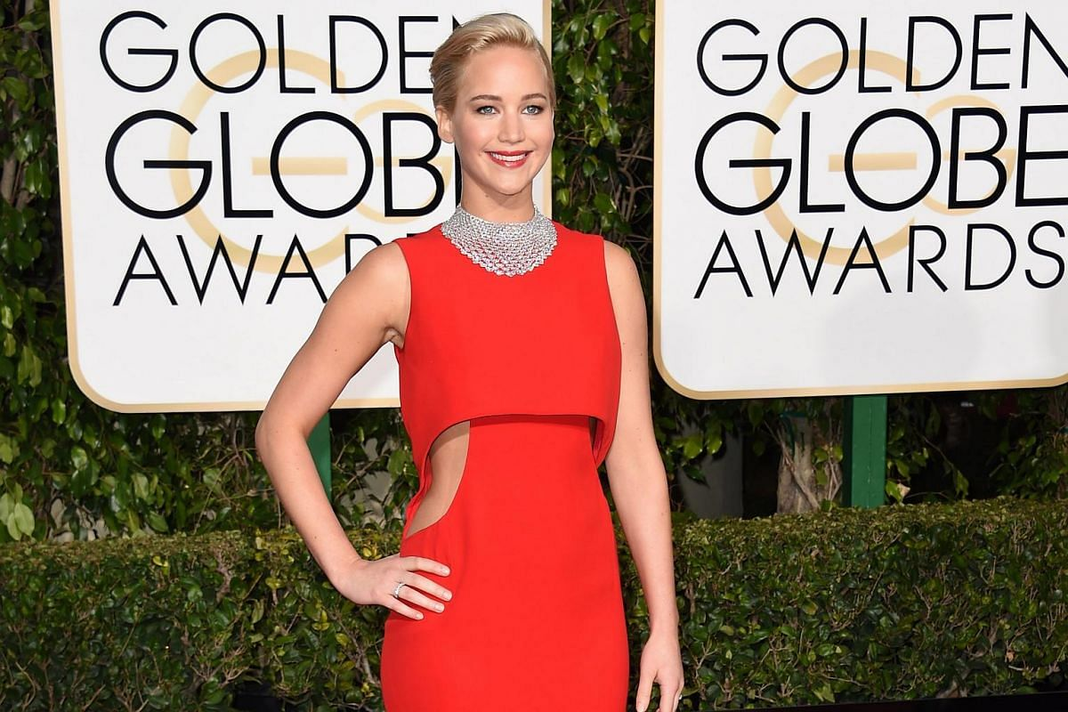 Jennifer Lawrence arrives for the 73nd annual Golden Globe Awards, on Jan 10, 2016, at the Beverly Hilton Hotel in Beverly Hills, California.