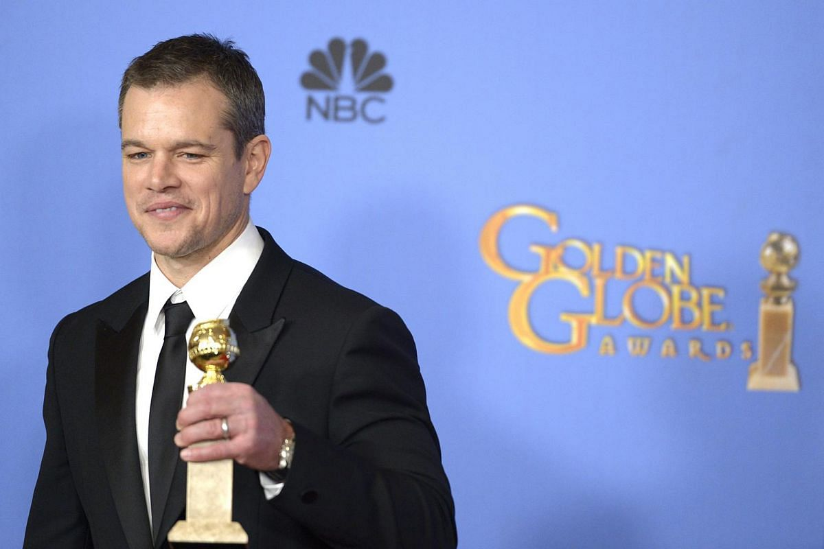 US actor Matt Damon holds the award for Best Actor - Motion Picture, Comedy for The Martian in the press room during 73rd Annual Golden Globe Awards at the Beverly Hilton Hotel in Beverly Hills, California, USA, on Jan 10, 2016.