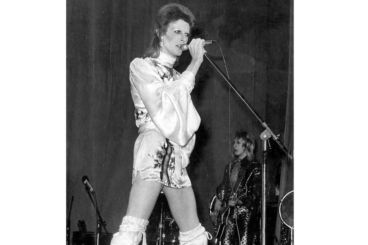 An undated photo from the 1970s with the singer in his Ziggy Stardust persona.