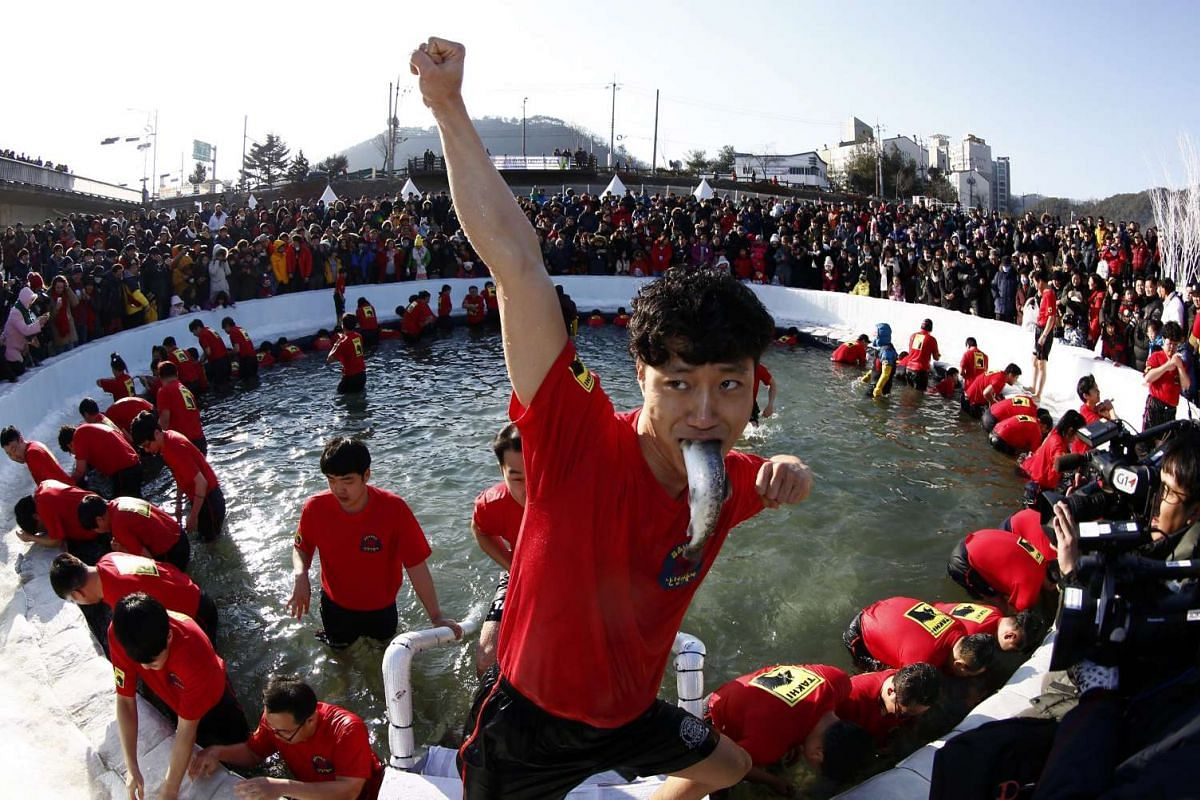 A visitor celebrates after attending a bare-hand fishing event in a frozen river during the Hwacheon Sancheoneo Ice Festival at Hwacheon-gun, South Korea, Jan 9.