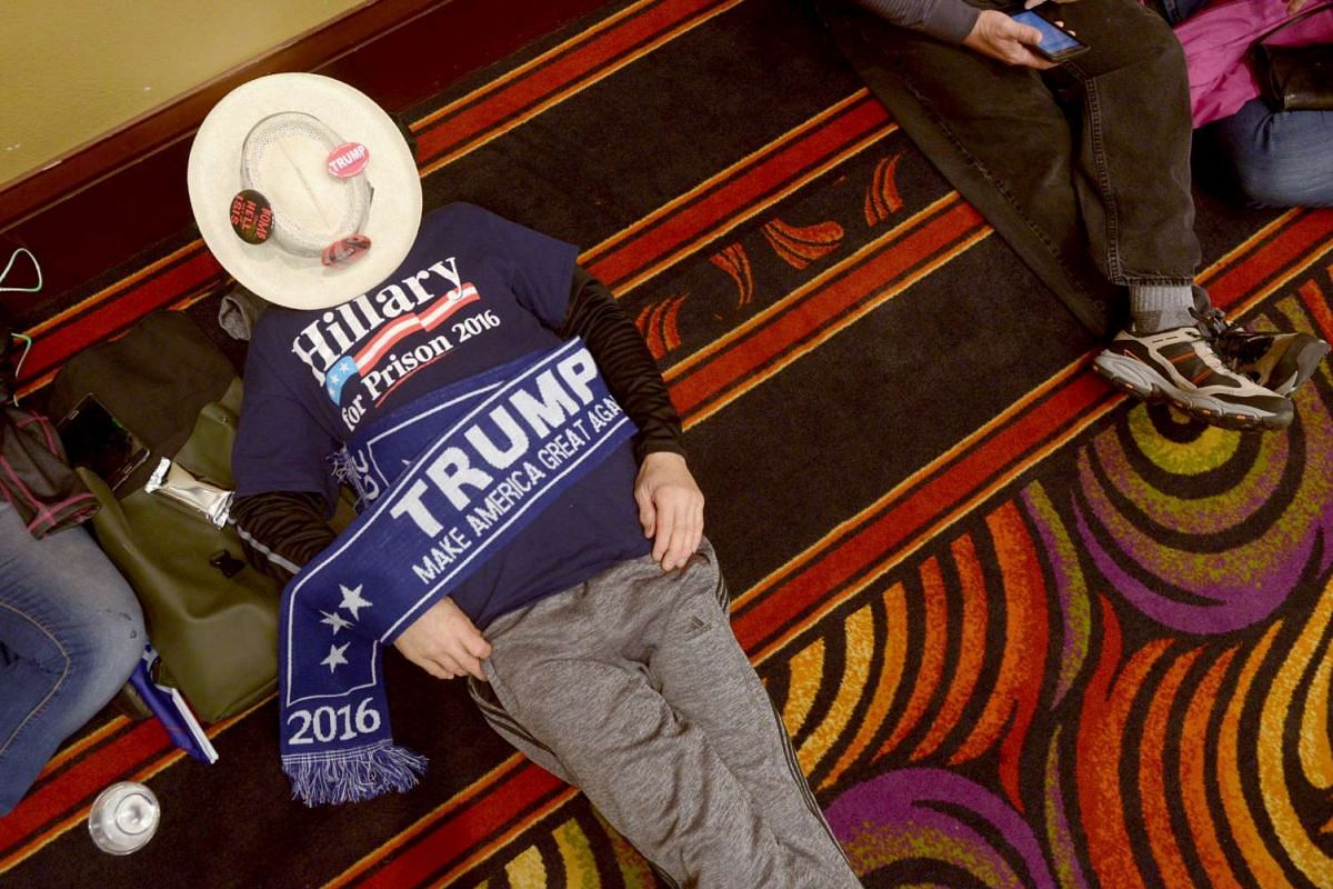 Mr Angelo Figueroa relaxes before the start of US Republican Presidential candidate Donald Trump's rally in Reno, Nevada on Jan 10.