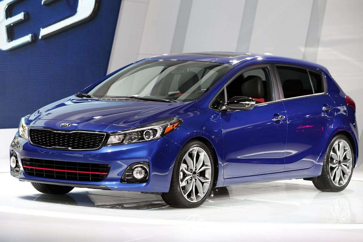 The Kia Forte is revealed to the news media during the North American International Auto Show in Detroit, Michigan, on Jan 11, 2016.