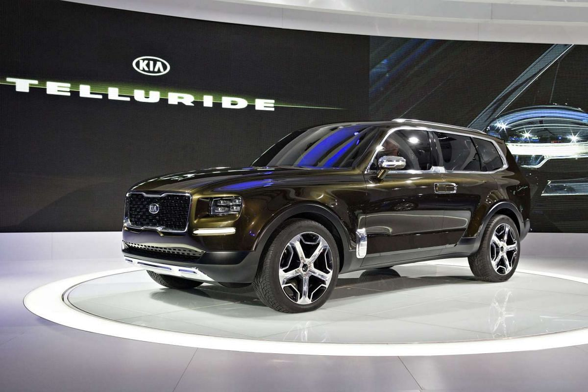 The Kia Motors Corp. Telluride concept sports utility vehicle (SUV) debuts at the North American International Auto Show in Detroit, Michigan, on Jan 11, 2016.
