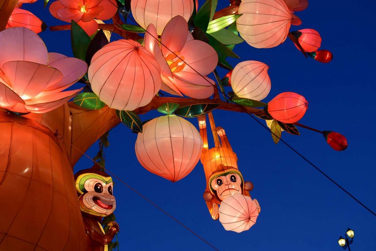 Chinese New Year decorations along Eu Tong Sen Street to welcome the Year of the Monkey.