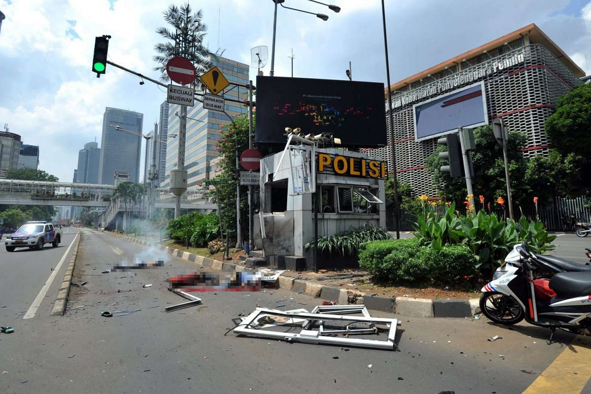 11am: The scene of a bomb blast at a police station in front of a shopping mall in Jakarta, Indonesia, on Jan 14, 2016.