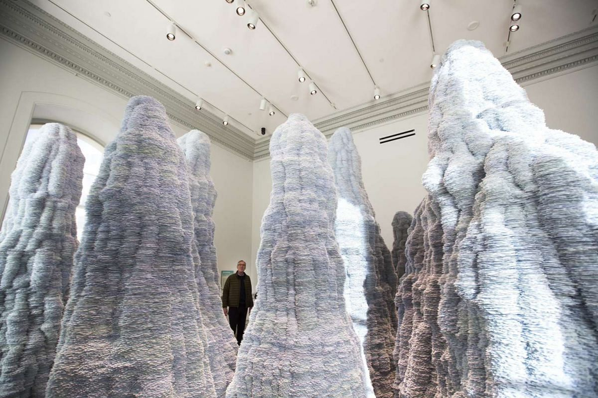 This piece by artist Tara Donovan is one of the nine large-scale installations displayed at the Wonder exhibit at the Renwick Art Gallery in Washington, DC.