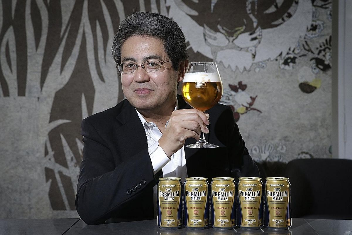 Suntory's beer ambassador Akira Isoe (left) says beers can be appreciated the same way as wines.