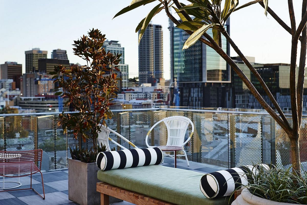 The rooftop lounge and bar at Alex Hotel in Northbridge.