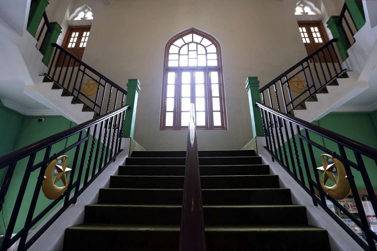 A staircase in the Sultan Mosque after its upgrade.