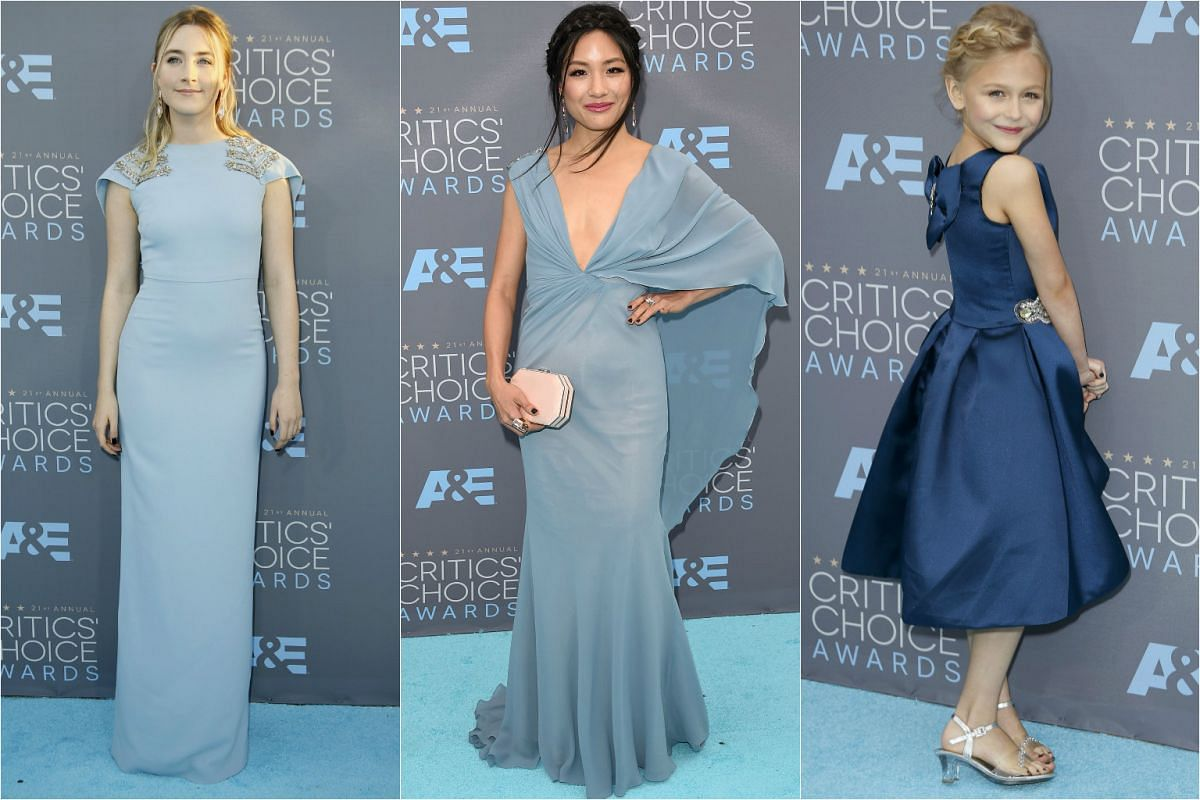 Actresses Saoirse Ronan (left) and Constance Wu stand out in pale blue. Alyvia Alyn Lind is cute as a button in her age-appropriate frock.